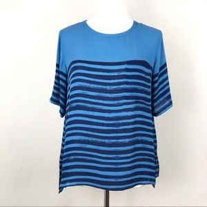 Vince Silk Blue Stripe Relaxed Pocket Top
